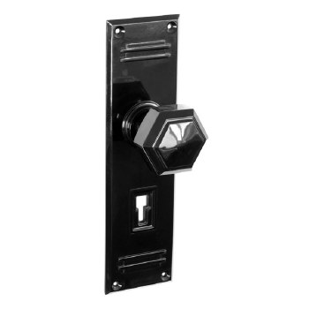 Bakelite Hexagonal Door Knobs on Gatsby Lockplates Black