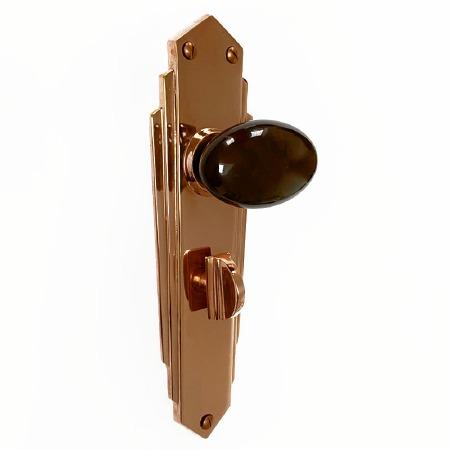 Bakelite Smooth Oval Door Knobs Walnut on Empire Bathroom Plates Copper