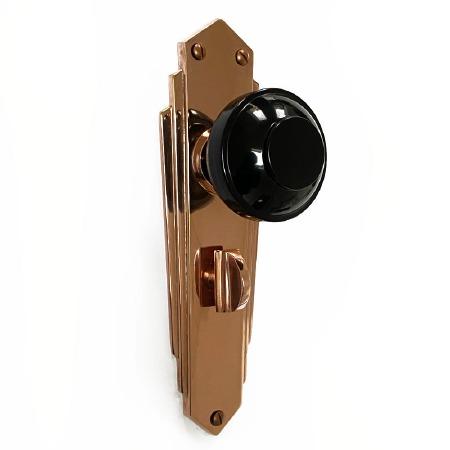 Bakelite Round Door Knobs Black on Empire Bathroom Plates Copper