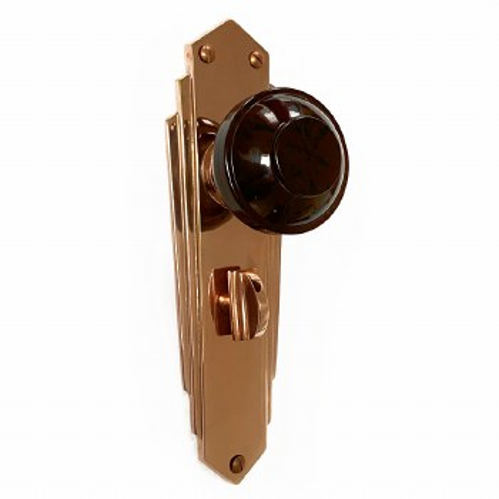 Bakelite Round Door Knobs Walnut on Empire Bathroom Plates Copper