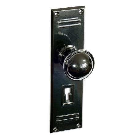 Bakelite Stepped Round Door Knobs on Gatsby Lockplates Black