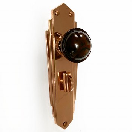 Bakelite Stepped Round Door Knobs Walnut on Empire Bathroom Plates Copper