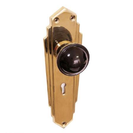 Bakelite Stepped Round Door Knobs Black on Empire Lockplates Brass