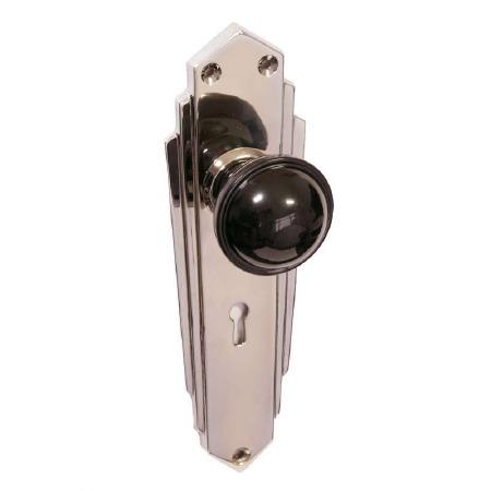 Bakelite Stepped Round Door Knobs Black on Empire Lockplates Chrome