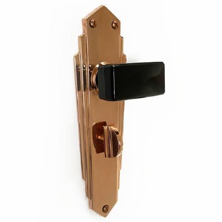 Bakelite Tee Door Knobs Black on Empire Bathroom Plates Copper