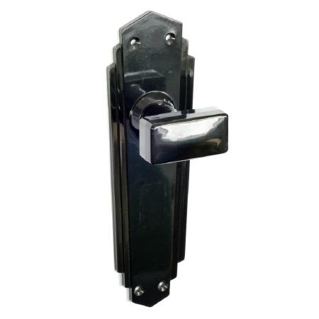 BROLITE 6893  Real Bakelite Door Knobs Black