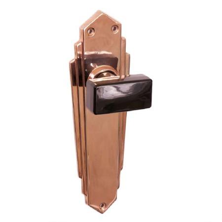 Bakelite Tee Door Knobs Black on Empire Latchplates Copper