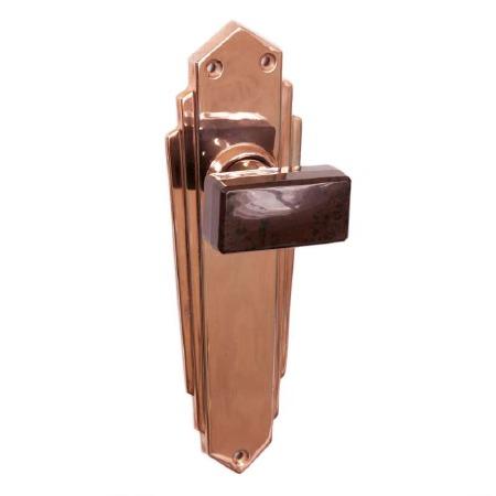 Bakelite Tee Door Knobs Walnut on Empire Latchplates Copper