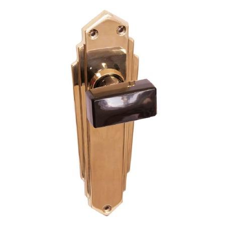 Bakelite Tee Door Knobs Black on Empire Latchplates Brass