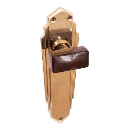 Bakelite Tee Door Knobs Walnut on Empire Latchplates Brass