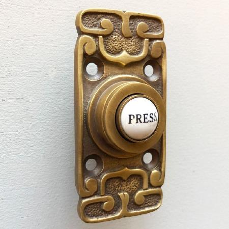 Art Nouveau Bell Push Antique Satin Brass