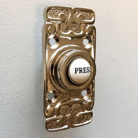 Art Nouveau Bell Push Polished Nickel