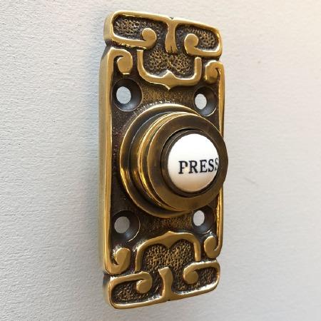 Art Nouveau Bell Push Renovated Brass