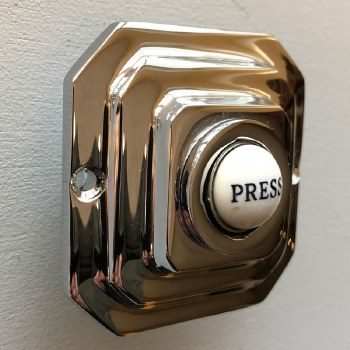 Art Deco Square Bell Push Polished Nickel
