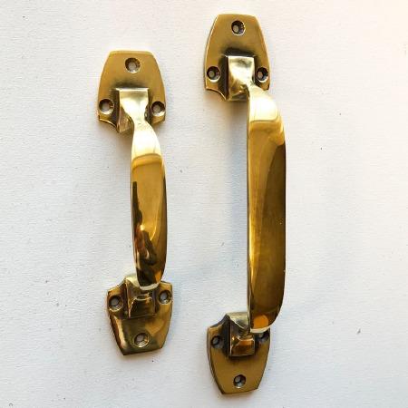 Art Deco Pull Handles 153mm Renovated Brass