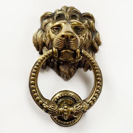 Lion Head Door Knocker with Beaded Ring Renovated Brass