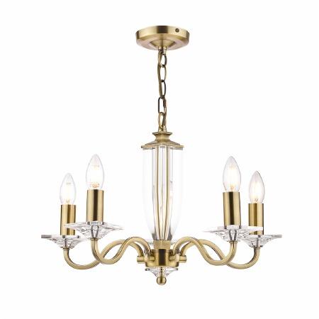 Laura Ashley Carson 5 Light Chandelier Antique Brass