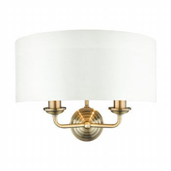 Laura Ashley Sorrento 2 Arm Wall Light Antique Brass with Shade