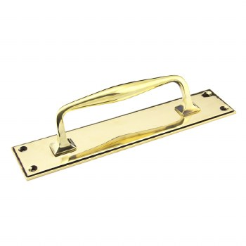 From The Anvil Art Deco Pull Handle on Backplate Small Aged Brass