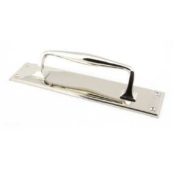 From The Anvil Art Deco Pull Handle on Backplate Small Polished Nickel