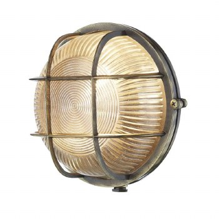 David Hunt ADM5075 Admiral Bulkhead Light Round Antique Brass IP64