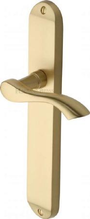 Heritage Algarve Long Latch Door Handles MM7210 Satin Brass Lacquered