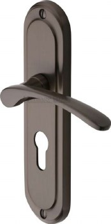 Heritage Ambassador Euro Lock Door Handles AMB6248 Matt Bronze