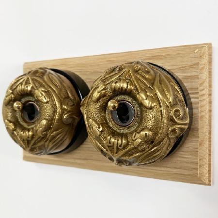 Art Nouveau Round Dolly Light Switch 2 Gang Antique Satin Brass
