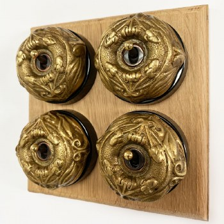 Art Nouveau Round Dolly Light Switch 4 Gang Antique Satin Brass