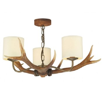 David Hunt ANT0329 Antler 3 Arm Ceiling Pendant Light with Cream Shades