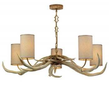 David Hunt ANT0549 Antler 5 Arm Bleached Ceiling Pendant Light with Cream Shades