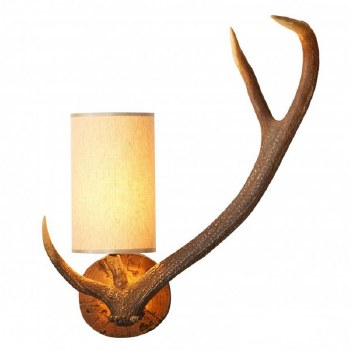 David Hunt ANT0729R Antler Wall Light Right Hand with Cream Shade