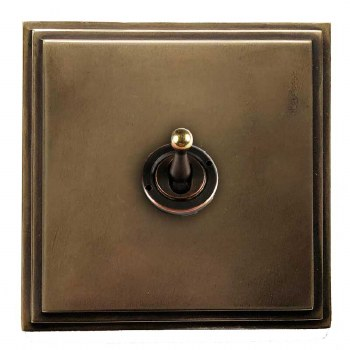 Edwardian Dolly Switch 1 Gang Hand Aged Brass