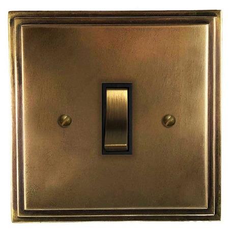 Edwardian Rocker Light Switch 1 Gang Hand Aged Brass