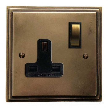 Edwardian Switched Socket 1 Gang Hand Aged Brass