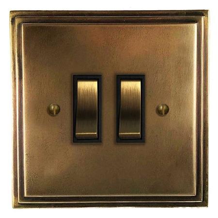 Edwardian Rocker Light Switch 2 Gang Hand Aged Brass
