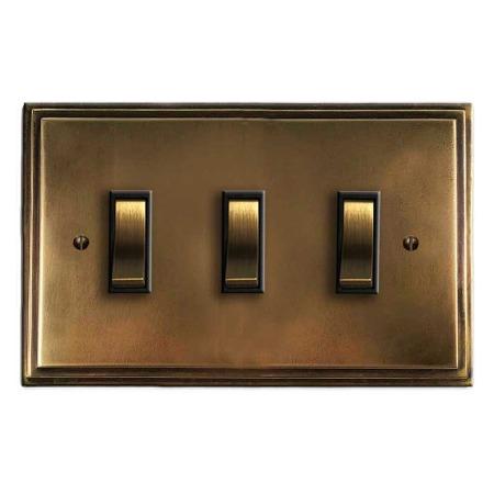 Edwardian Rocker Light Switch 3 Gang Hand Aged Brass
