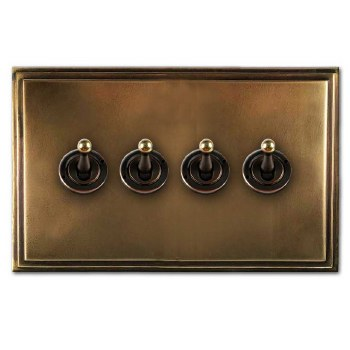 Edwardian Dolly Switch 4 Gang Hand Aged Brass