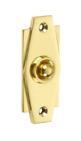 Croft Art Deco Door Bell Push 7015 Polished Brass Unlacquered