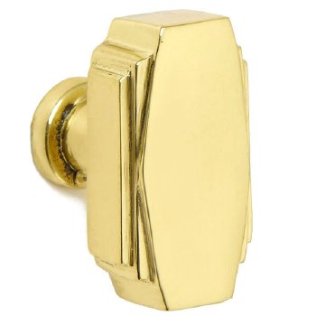 Croft 7006 38mm Art Deco Cupboard Door Knob Polished Brass Unlacquered