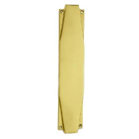 "Croft 7011 Art Deco 12"" Finger Plate Polished Brass Unlacquered"