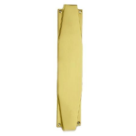 "Croft 7011 Art Deco 15"" Finger Plate Polished Brass Unlacquered"