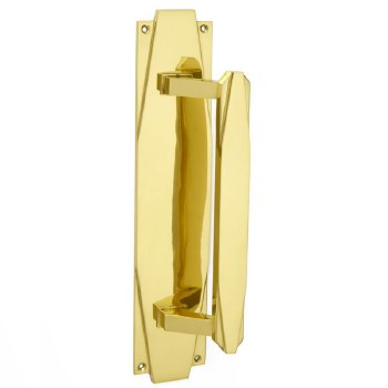 Croft 7010 Art Deco 375mm Pull Handle Polished Brass Unlacquered