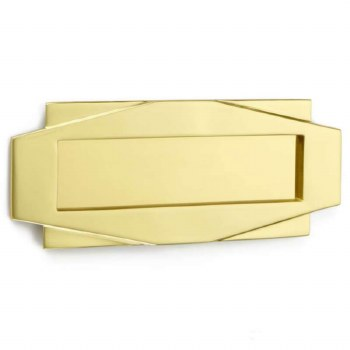Croft Art Deco Letter Plate 7014 Polished Brass Unlacquered