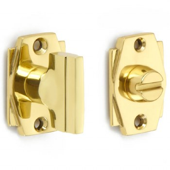 Croft 7007 Art Deco Thumb Turn & Release Polished Brass Lacquered
