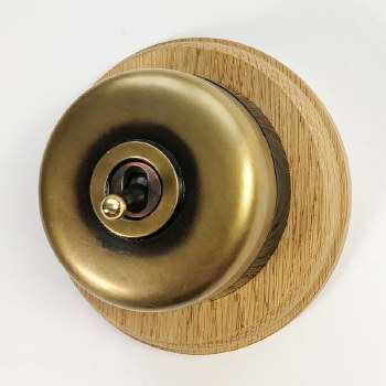 Round Dolly Light Switch & Circular Oak Base Antique Satin Brass & Black Mount