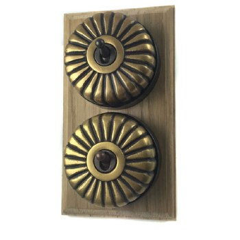 Fluted Round Dolly Light Switch on Wooden Base Antique Satin Brass 2 Gang