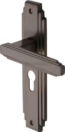 Heritage Astoria Euro Lock Door Handles AST5948 Matt Bronze