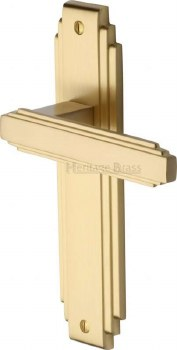 Heritage Astoria Latch Door Handles AST5910 Satin Brass Lacquered