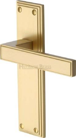 Heritage Atlantis Latch Door Handles ATL5710 Satin Brass Lacquered